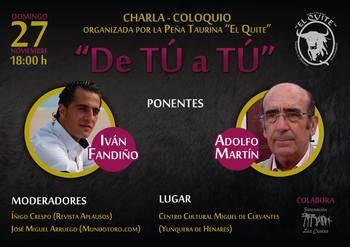 Yunquera de Henares acogerá un coloquio taurino entre Iván Fandiño y Adolfo Martín