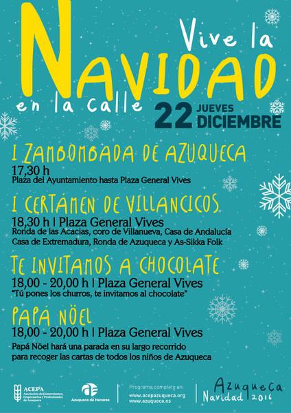Este jueves en Azuqueca, Zambombada, villancicos, chocolate y la visita de Papá Noel en 'Navidad en la calle'