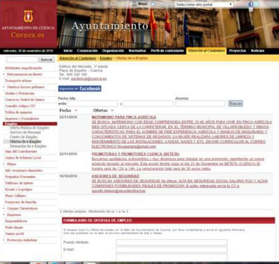 """CCOO denuncia una oferta de empleo """"discriminatoria y sexista"""" publicada en la web del Ayuntamiento de Cuenca"""