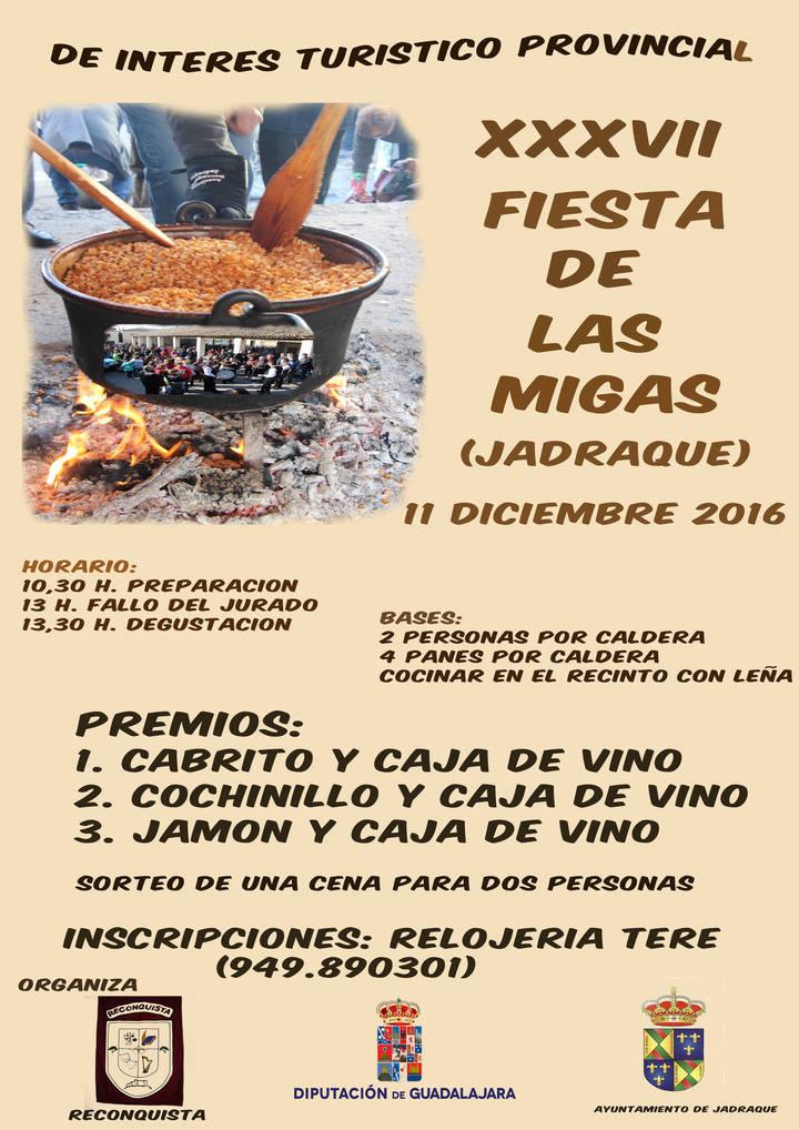 Jadraque celebrará el domingo 11 la XXXVII Fiesta de las Migas