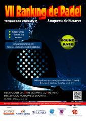Abierta hasta el 5 de enero la inscripción en la segunda fase del Ranking de Pádel de Azuqueca