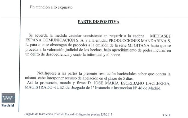 La Pantoja consigue que un juez paralice la emisión de 'Mi gitana' en Telecinco esta noche