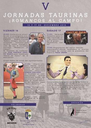 Enrique Crespo, Román Collado y Paco Ureña en las V Jornadas Taurinas de 'Romancos al campo'