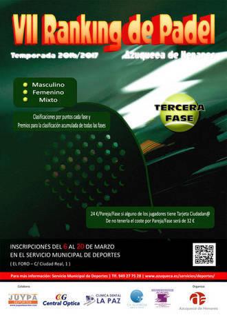 El próximo lunes se abre la inscripción en la tercera fase del Ranking de Pádel de Azuqueca
