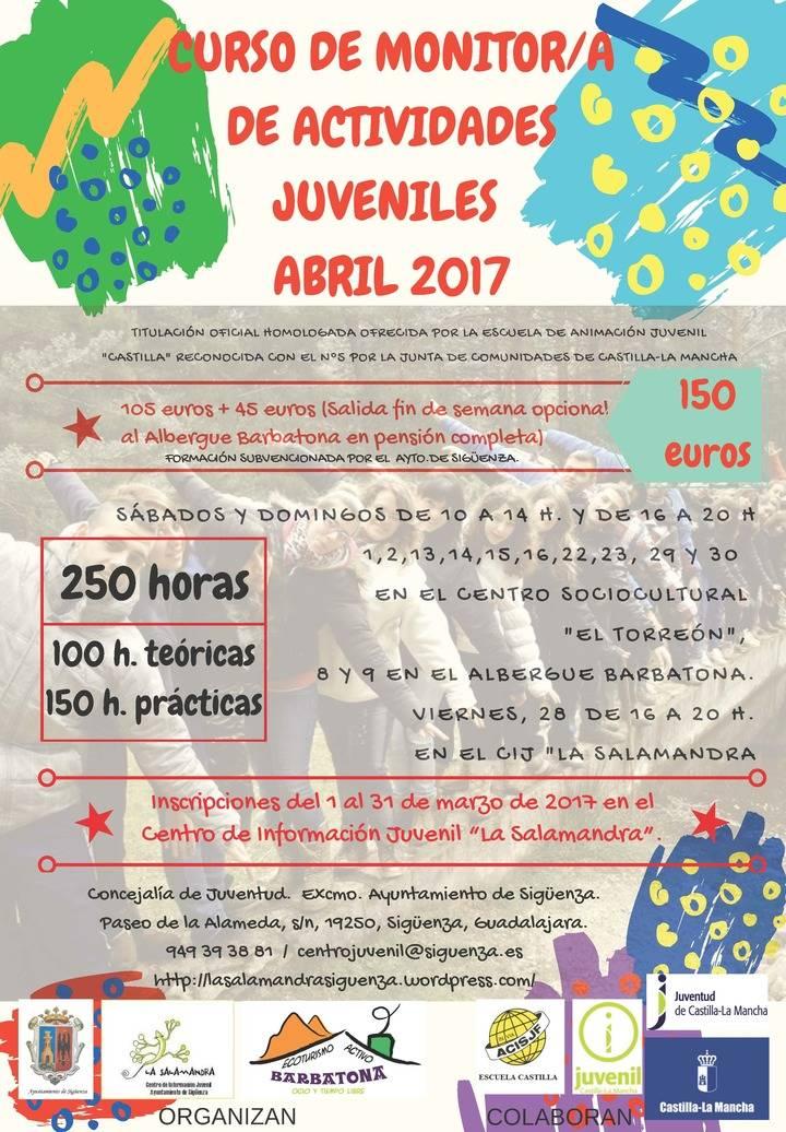 En abril, curso de monitor de actividades juveniles en Sigüenza