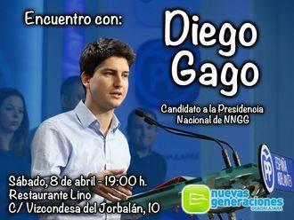 Diego Gago, único candidato a la presidencia nacional de NN GG, mantiene este sábado en Guadalajara un encuentro con jóvenes
