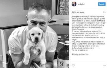 El presentador Jordi González a punto de quedar ciego de un ojo