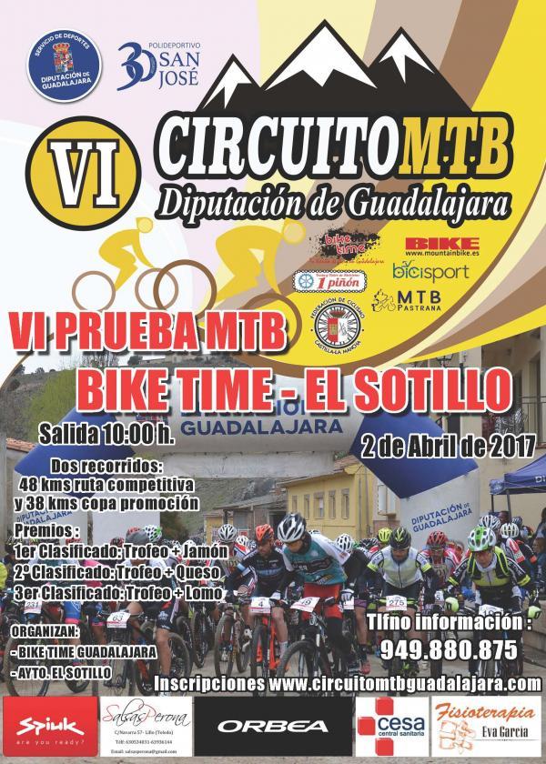 El domingo 2, VI Bike Time-El Sotillo, segunda prueba del Circuito MTB Diputación de Guadalajara