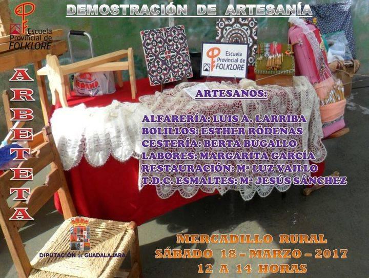 Demostraciones de artesanía de la Escuela de Folklore en Arbeteta este próximo sábado