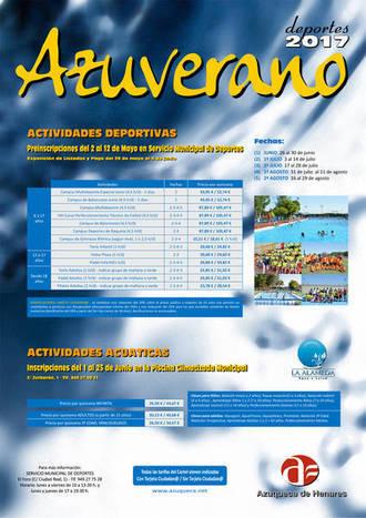 Abierta la preinscripción en las actividades deportivas del programa Azuverano 2017