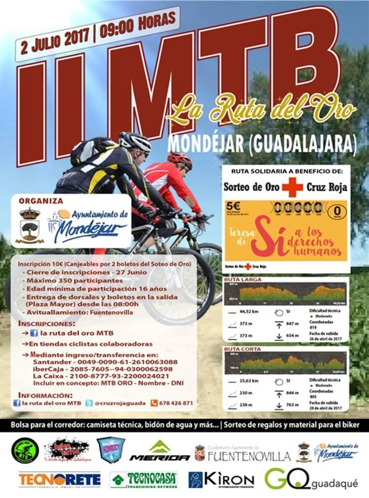 """II Edición de la MTB """"La Ruta del Oro"""", ruta solidaria a beneficio de Cruz Roja Española en Guadalajara"""
