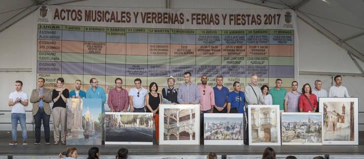 Un precioso detalle del Patio de los Leones del Infantado, primer premio del XX Concurso de Pintura Rápida al Aire Libre