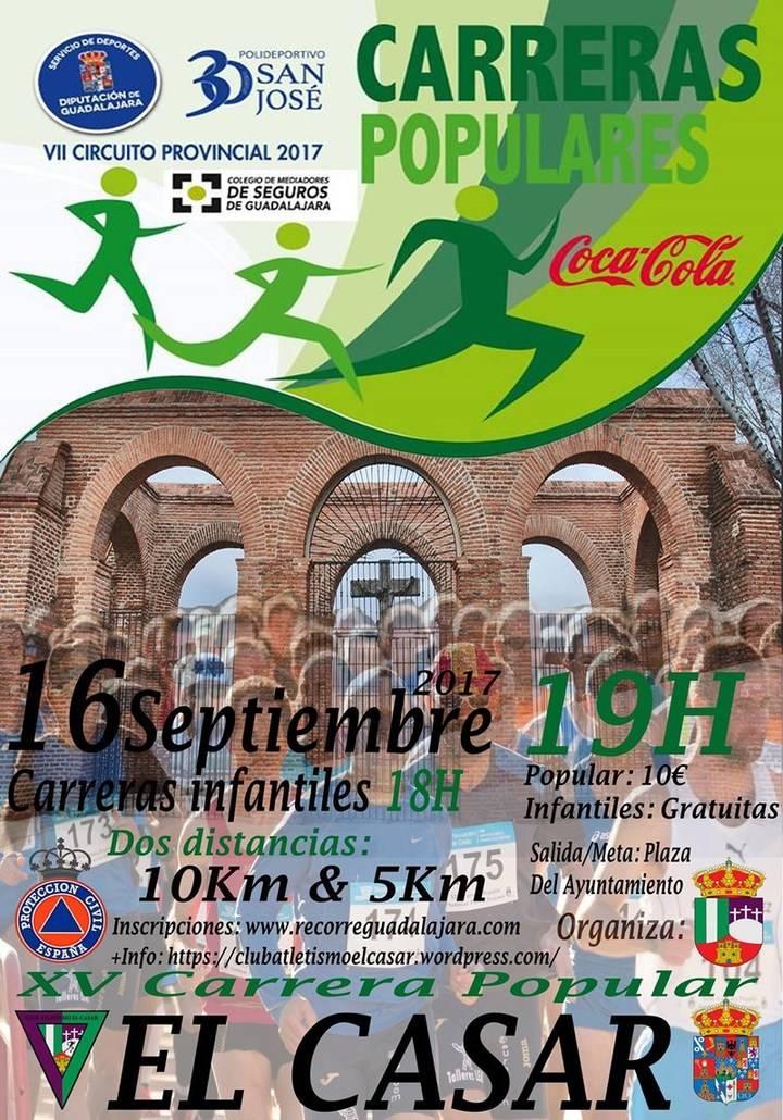 El sábado se celebra la XV Carrera Popular El Casar, séptima prueba del Circuito Diputación de Guadalajara