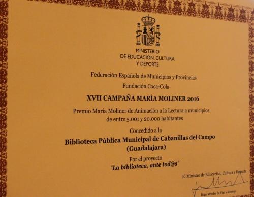 La Biblioteca de Cabanillas vuelve a ser reconocida en los Premios María Moliner
