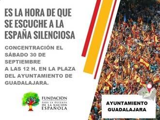 Este sábado, concentración en la plaza Mayor de Guadalajara contra el referéndum independentista ilegal