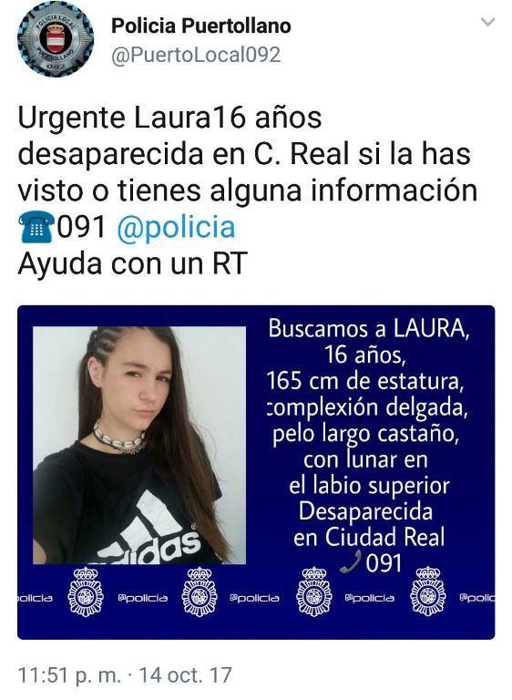 La Policía distribuye la foto de la joven de 16 años desaparecida en Ciudad Real