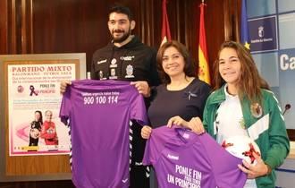Partido mixto con deportistas del Dínamo y del Balonmano Guadalajara en señal de repulsa a la violencia de género