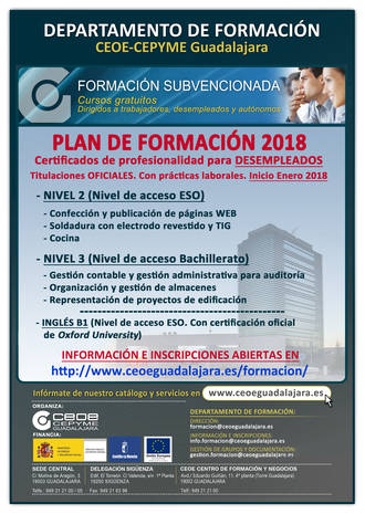 Abierto el plazo de inscripción para los cursos gratuitos con certificado de profesionalidad en Guadalajara