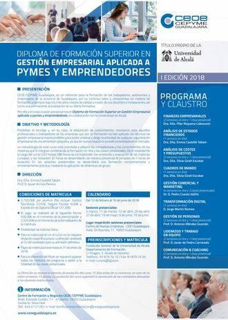 Curso de gestión empresarial aplicada a pymes y emprendedores en Guadalajara