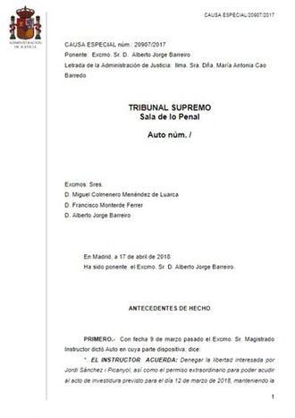 El Tribual Supremo se lo deja bien claro al tribunal alemán : Puigdemont cometió delitos de rebelión y sedición