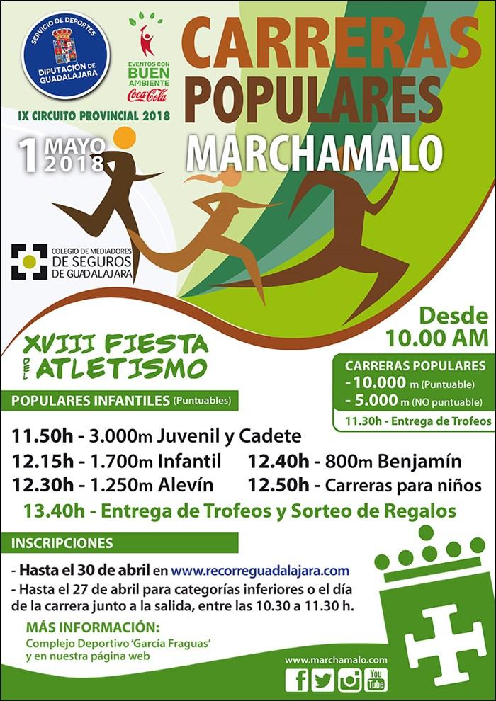 El martes 1 se celebrará la XVIII Fiesta del Atletismo de Marchamalo, segunda prueba del Circuito Diputación de Guadalajara