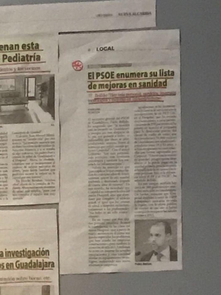 El PP denuncia que Page y Podemos utilizan medios y dinero público en la Delegación de Sanidad de Guadalajara para hacer propaganda política