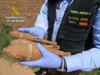 La Guardia Civil desactiva tres granadas de mortero originarias de la Guerra Civil en Copernal