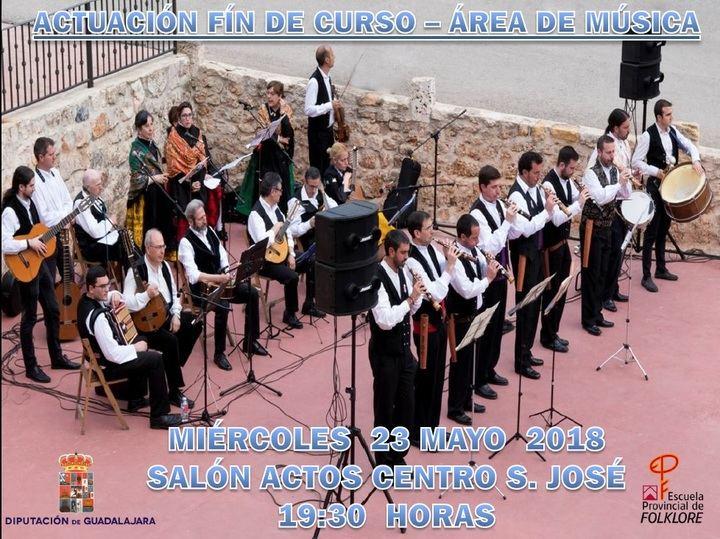 El Área de Música de la Escuela de Folklore de la Diputación de Guadalajara ofrecerá el miércoles su