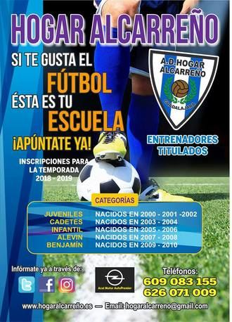 En marcha las Escuelas de fútbol del Hogar Alcarreño 2018-19