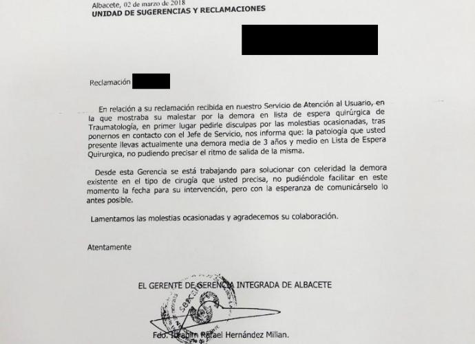 La Junta de Page y Podemos reconoce por escrito que una paciente tendrá que esperar para ser operada... ¡más de tres años!