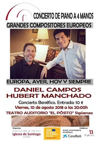 Este viernes, concierto de piano a cuatro manos en El Pósito a beneficio de la Iglesia de Santiago