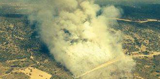 Medios aéreos trabajan en la extinción de un incendio en Guadalajara