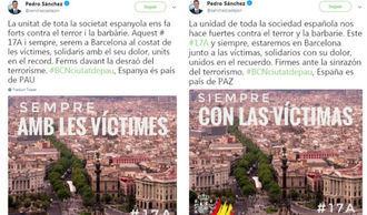 Pedro Sánchez quita el escudo y la bandera españoles en su recuerdo a las víctimas en catalán y luego rectifica