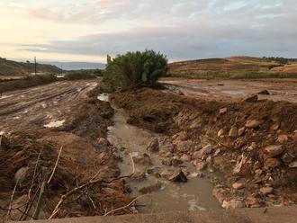El canal construido tras la riada de 1995 evita males mayores en Yebra