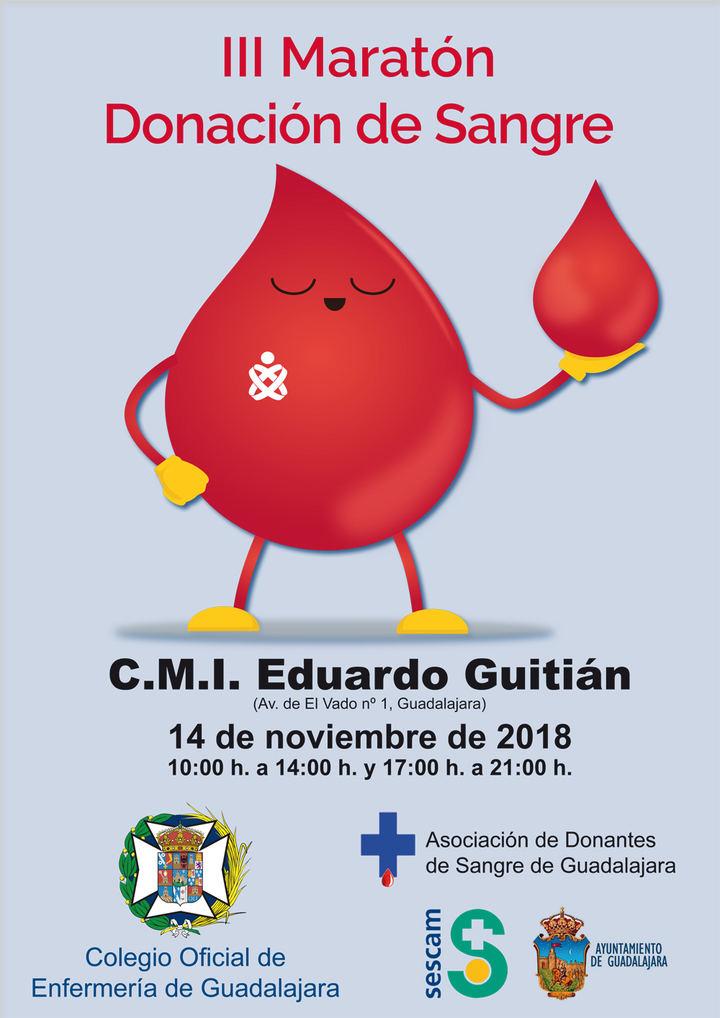 El Colegio de Enfermería de Guadalajara organiza su III Maratón de Donación de Sangre el próximo 14 de noviembre
