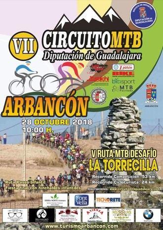 El domingo 28, V Ruta MTB Desafío de La Torrecilla en Arbancón, última prueba del Circuito Diputación de Guadalajara