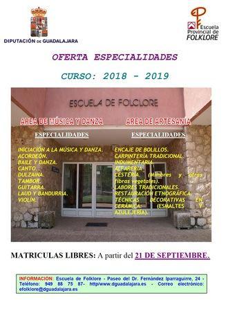 El viernes se abre el plazo de matrícula libre en la Escuela de Folklore de la Diputación de Guadalajara