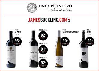 El vino tinto 'Finca Río Negro 5º Año 2013' consigue 93 puntos en la James Suckling