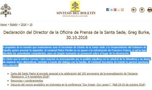 El Vaticano desmiente a Carmen Calvo acerca de la inhumación de Franco
