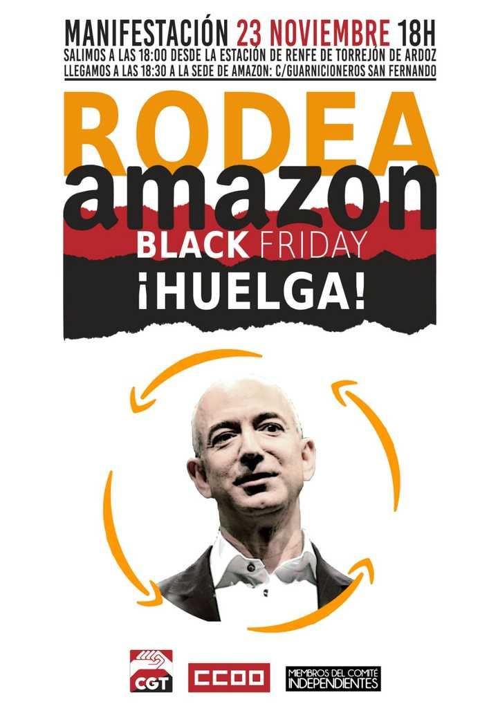 Una manifestación ciudadana rodeará el centro logístico de Amazon de San Fernando en su primera jornada de huelga