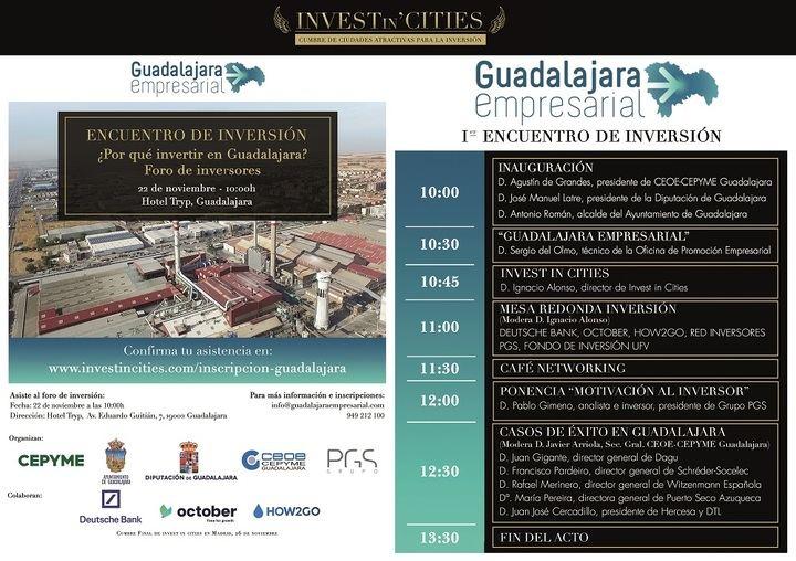 El I Encuentro de Inversión de Guadalajara se celebrará el 22 de noviembre