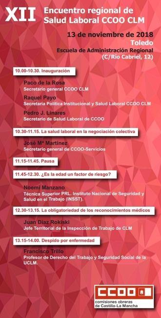 CCOO CLM celebra el próximo martes en Toledo el XII Encuentro regional de Salud Laboral