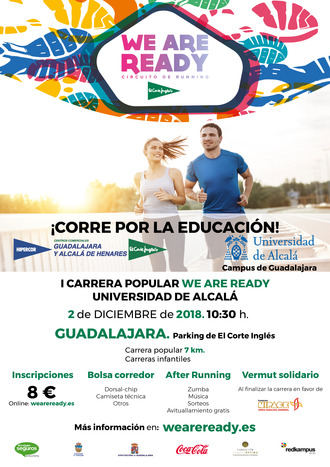 La I Carrera Popular Solidaria 'We are ready' Universidad de Alcalá recorrerá las calles de Guadalajara