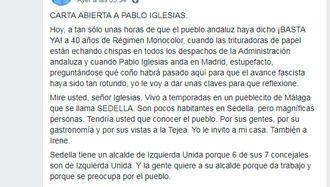Carta viral a Pablo Iglesias :