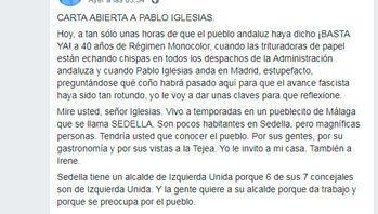 Carta viral a Pablo Iglesias : 'Cuando usted predica pobreza y sobriedad pero se compra un chalé, nace un fascista'
