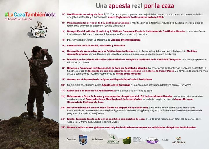 #LaCazaTambiénVota, nueva campaña del sector cinegético de Castilla-La Mancha