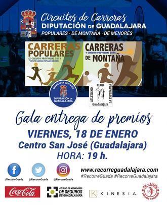 Este viernes, gala de los premios de los Circuitos de Carreras Populares y de Montaña de 2018 de Diputación de Guadalajara