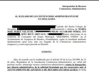 El grupo municipal de IU Azuqueca de Henares recurre a los tribunales contra el socialista José Luis Blanco