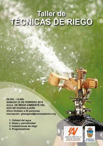 El sábado 23 de febrero en el Aula de Medio Ambiente de Guadalajara, taller de técnicas de riego