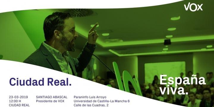 Santiago Abascal estará en Ciudad Real el 23 de marzo